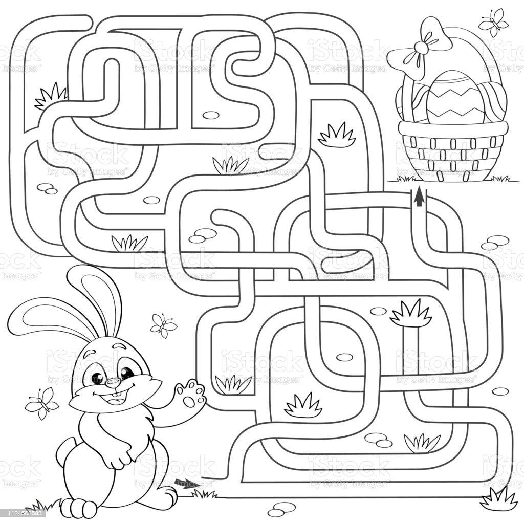 Ilustración De Ayuda A Conejito A Encontrar Camino Hacia La