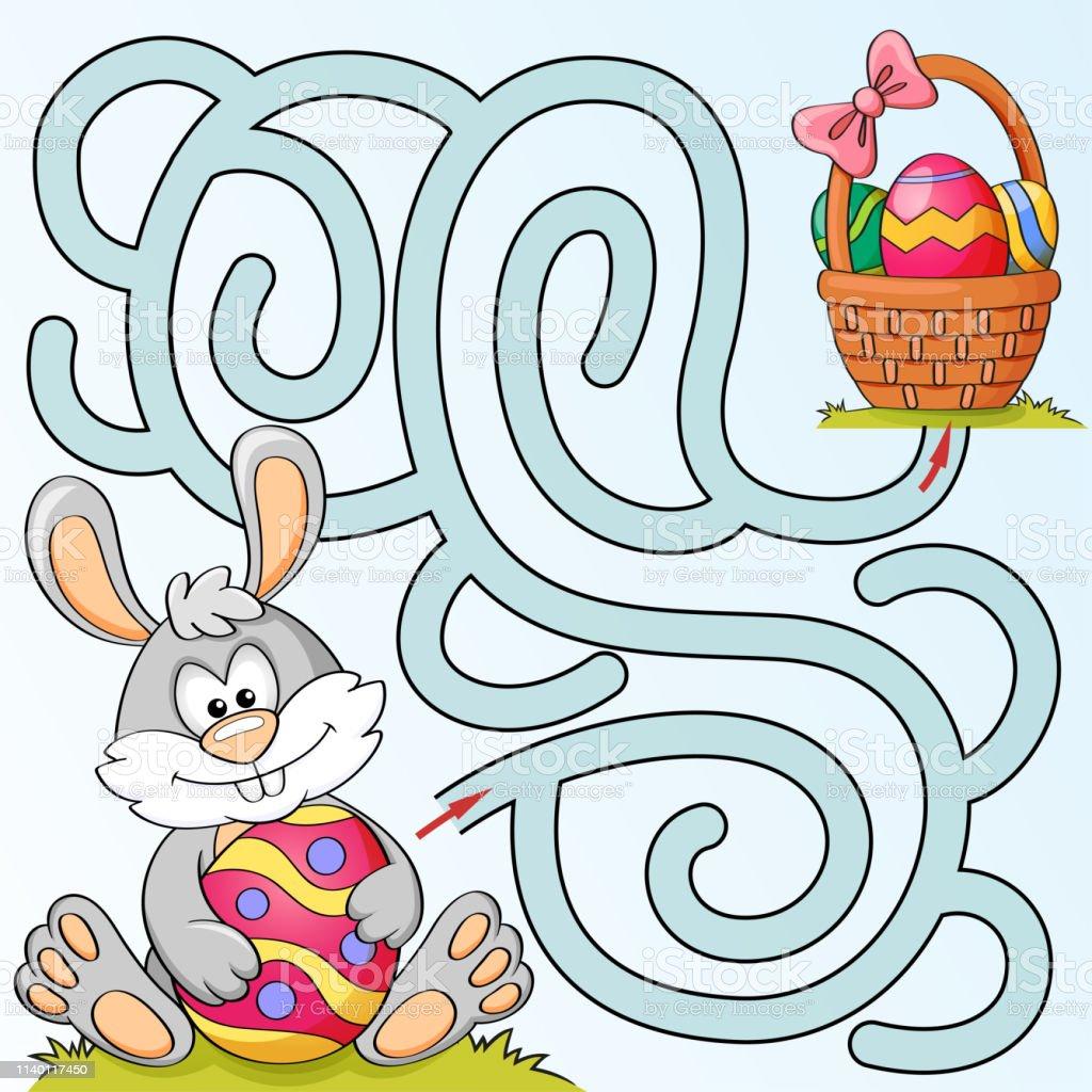 Help Little Bunny Vinden Pad Naar Pasen Mand Met Eieren Labyrint ...