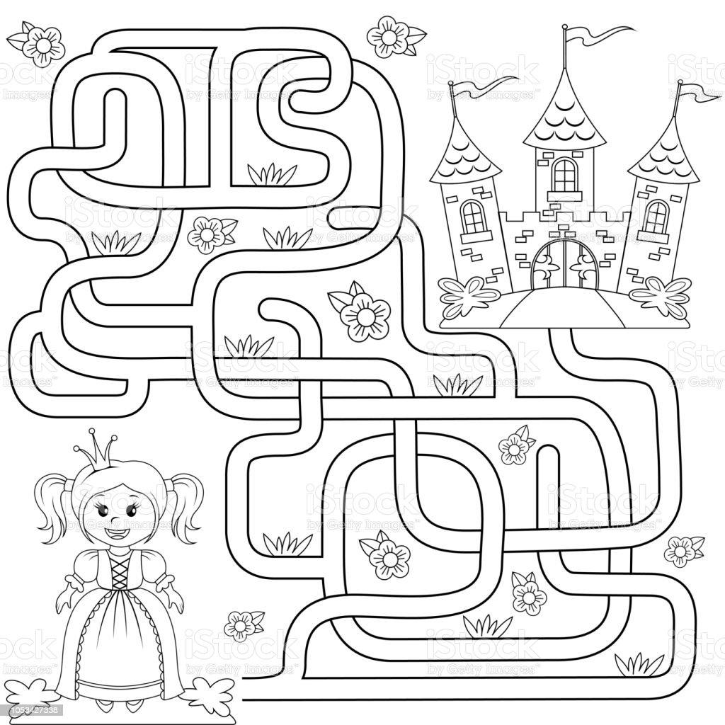 Kucuk Sirin Prenses Kale Yolu Bulun Yardimci Olur Labirent Maze