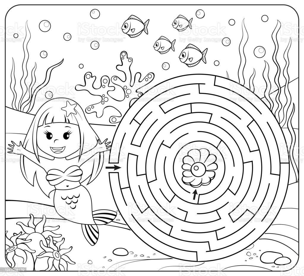 helfen meerjungfrau finden weg zur perle labyrinth