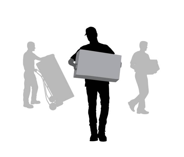 illustrazioni stock, clip art, cartoni animati e icone di tendenza di help move boxes - portare