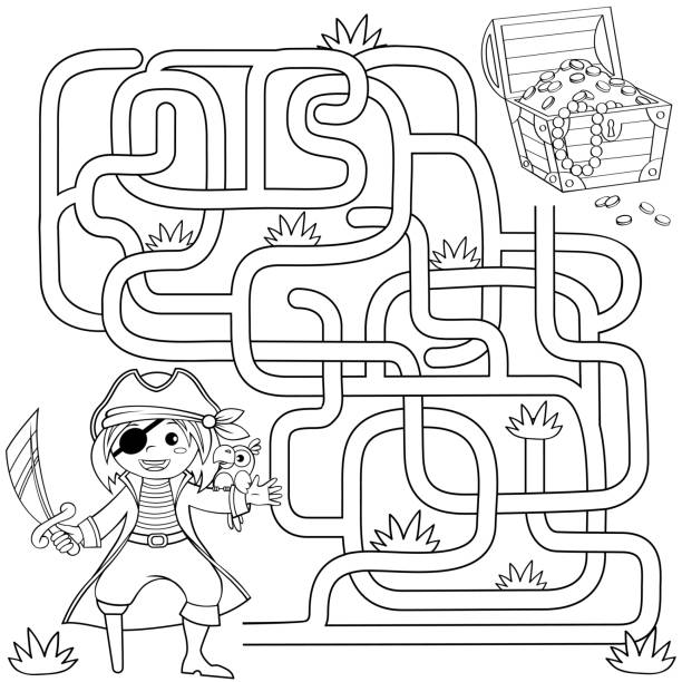 help pirate find path to treasure chest . labyrinth. maze game for kids. black and white vector illustration for coloring book - coloring book pages templates stock illustrations