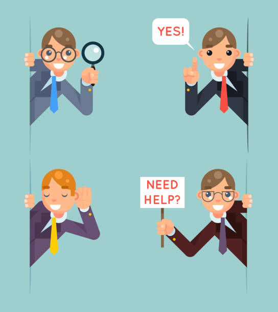 Help Support Listen Overhear Spy Looking Out Corner Idea Cartoon Help Support Listen Overhear Spy Looking Out Corner Idea Cartoon Businessman Character Solution Flat Vector Illustration curiosity stock illustrations