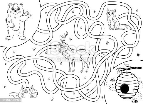 istock Help the bear find the way to the hive with honey. Cartoon maze or labyrinth game for preschool children. Puzzle. Tangled road. Forest animals for kids. Black and white for coloring. 1250293253