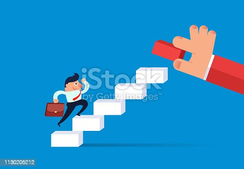 Help the businessman climb higher by adding stairs