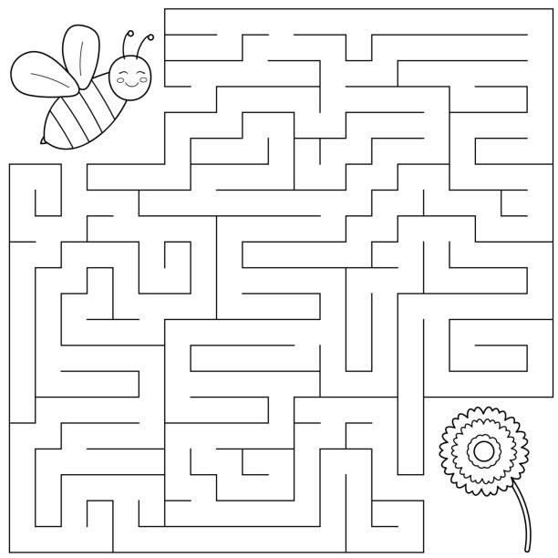 재미 꿀벌 꽃에 올바른 방법을 찾을 도움이 됩니다. - 미로찾기 stock illustrations