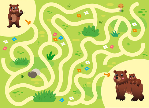 Help the little lost bear find the way to his mom. Color cartoon maze or labyrinth game for preschool children. Puzzle. Tangled road. Forest animals for kids.