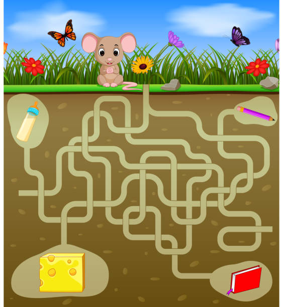 Help the mouse to find the cheese! illustration of Help the mouse to find the cheese! mlk stock illustrations