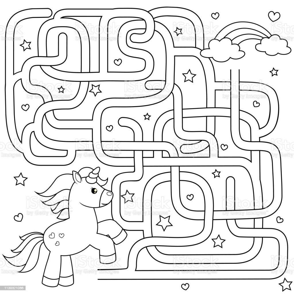 Ilustración De Ayudar A Unicornio A Encontrar Camino Al Arco