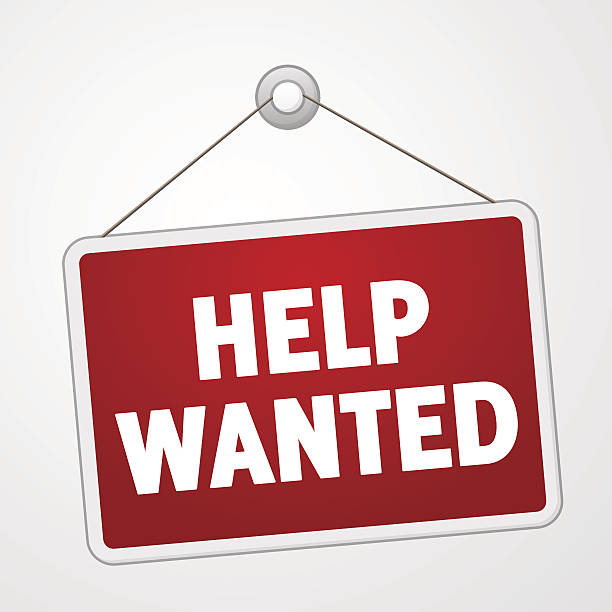 Help Wanted Sign Red employment advertisement with white hiring text help wanted sign stock illustrations