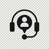 istock Helpdesk icon in flat style. Headphone vector illustration on white isolated background. Chat operator business concept. 1209808896