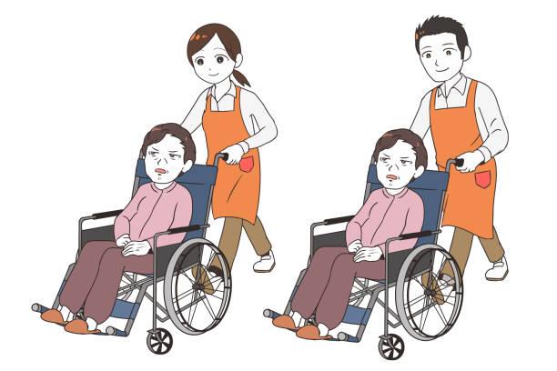 şikayet eden yaşlı bir kadına bakmak için yardımcı - 介護 stock illustrations