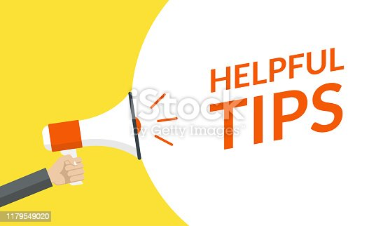 istock Helpful tips announcement with hand is holding a megaphone or loud speaker. Banner for business idea or service solution. Vector illustration. 1179549020