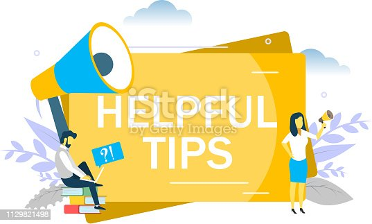 Helpful tips, business woman speaking through megaphone, man asking questions via laptop. Vector flat illustration for web banner, website page etc. Frequently asked questions FAQ concept