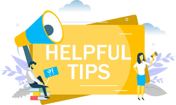 Helpful tips concept vector flat style design illustration Helpful tips, business woman speaking through megaphone, man asking questions via laptop. Vector flat illustration for web banner, website page etc. Frequently asked questions FAQ concept stunt stock illustrations