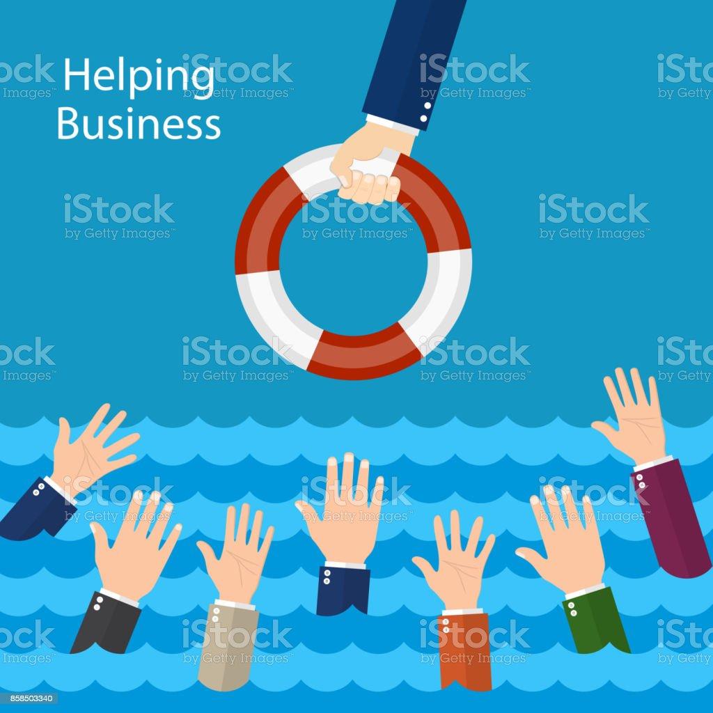 Helping Business survive. vector art illustration
