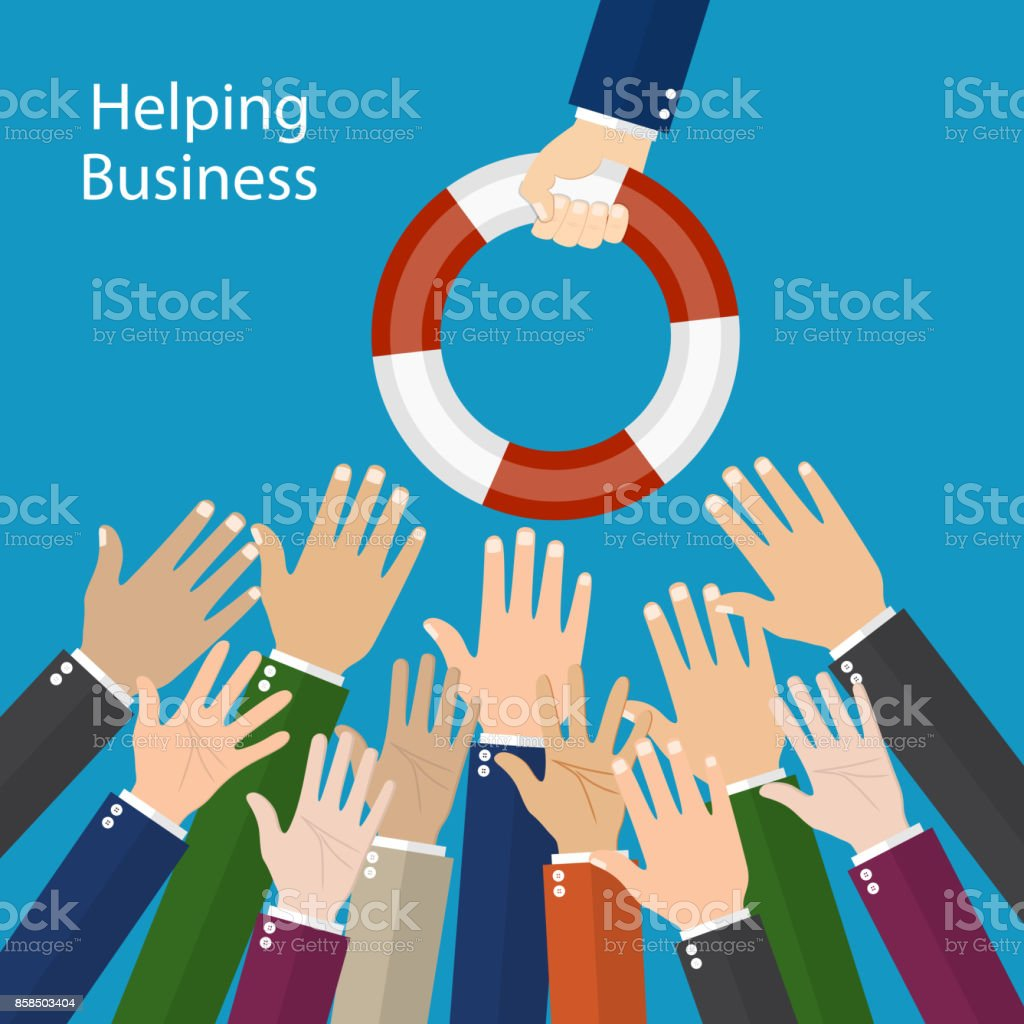 Helping Business to survive. vector art illustration