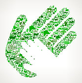 Helping Child Hand Icon . The green vector icons create a seamless pattern and include popular farming and agriculture. Farm house, farm animals, fruits and vegetables are among the icons used in this file. The icons are carefully arranged on a light background and vary in size and shades of green color.