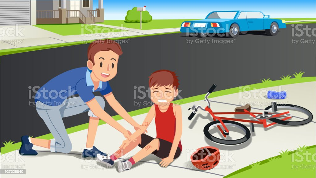 Helping children after a bicycle accident. Caring for kids. First aid with family. Paying attention to people around. vector art illustration