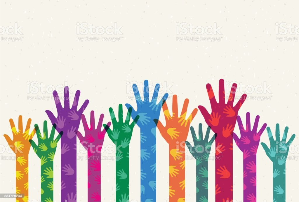 Helping colored hands vector art illustration