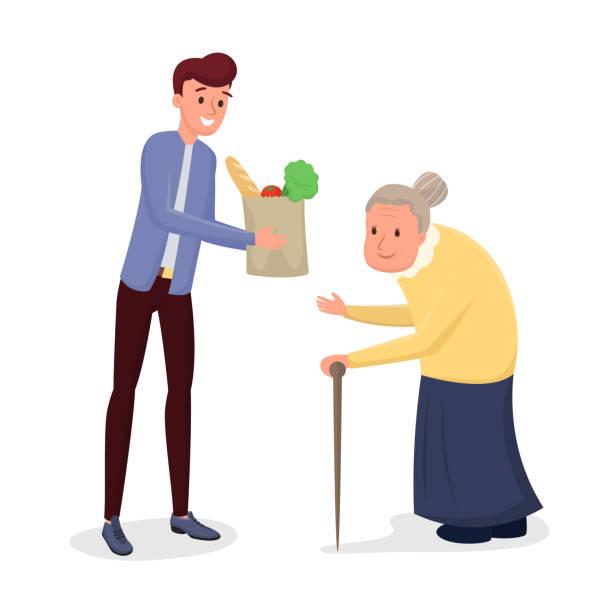 ilustraciones, imágenes clip art, dibujos animados e iconos de stock de ayudar a las personas mayores a ilustrar vectoriales planos - nieto