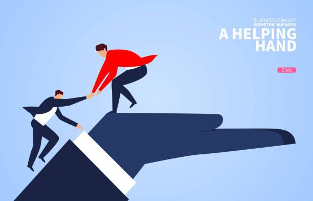 Helfende Hand, Geschäftsmann hilft Begleiter klettern auf die riesige Hand – Vektorgrafik
