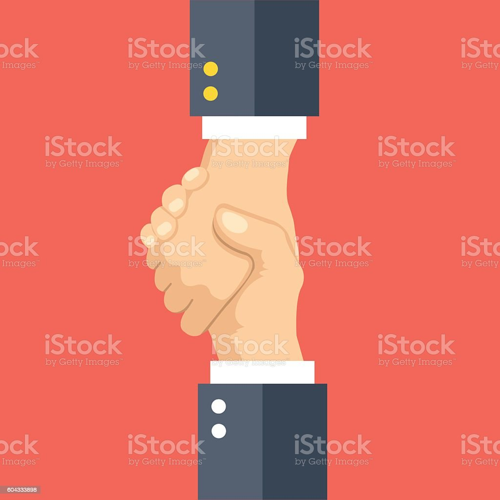 Helping hand concept. One hand pulling another. Flat vector illustration vector art illustration