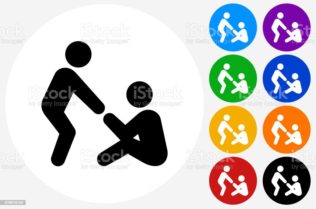 Helping Hand Icon on Flat Color Circle Buttons vector art illustration