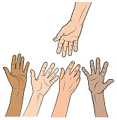 A hand reaches down to four other hands reaching up.