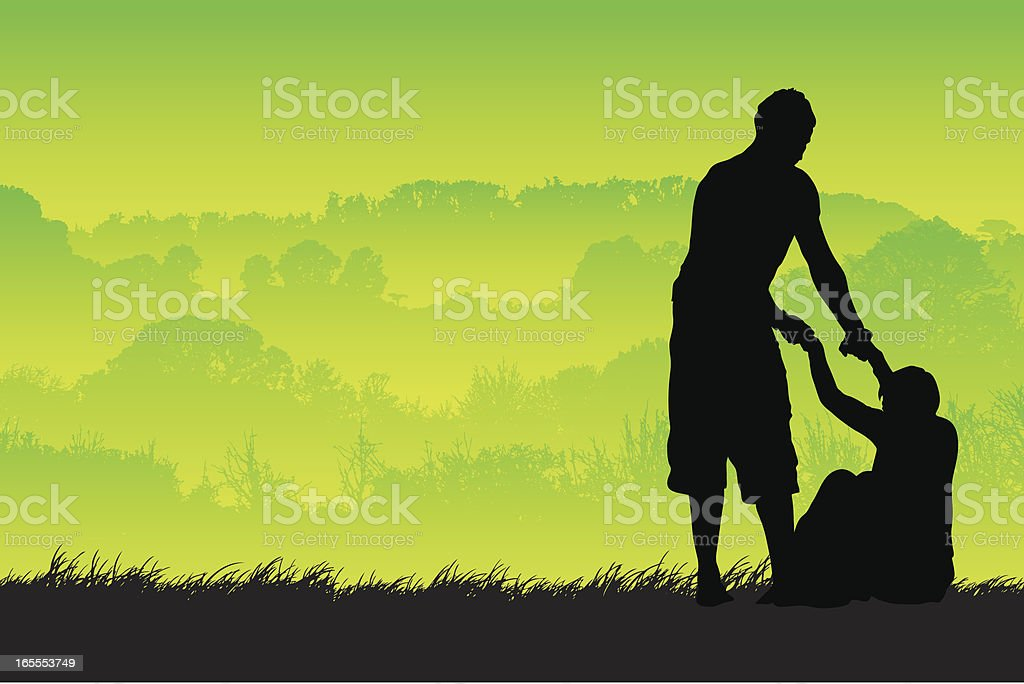 Helping hand in the country royalty-free stock vector art