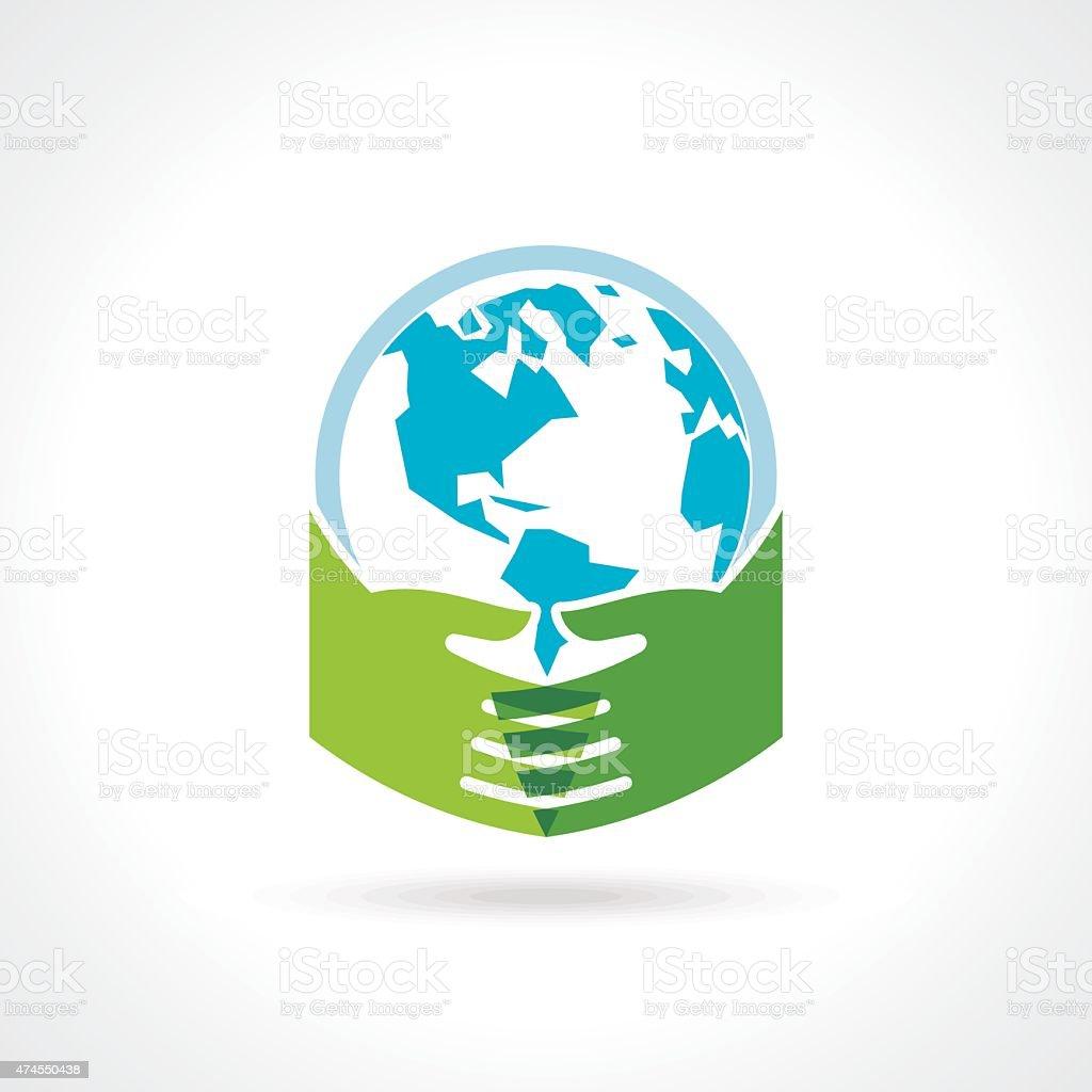 Helping hand make tree on earth vector art illustration