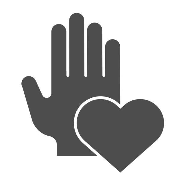 Helping hand of charity solid icon. Human palm and heart shape symbol, glyph style pictogram on white background. Relationship sign for mobile concept and web design. Vector graphics. Helping hand of charity solid icon. Human palm and heart shape symbol, glyph style pictogram on white background. Relationship sign for mobile concept and web design. Vector graphics human finger stock illustrations