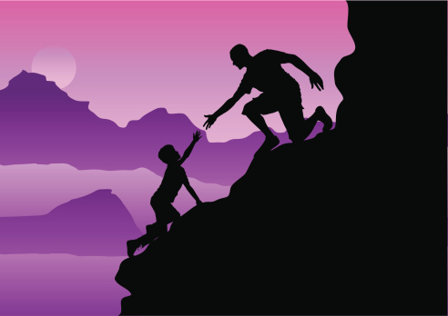 helping hand on the mountainside