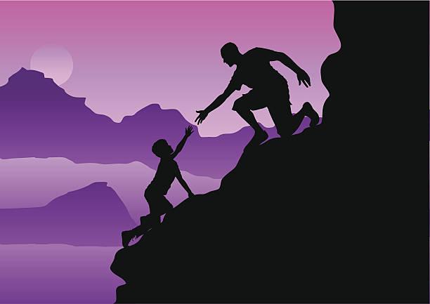 helping hand on the mountainside vector art illustration