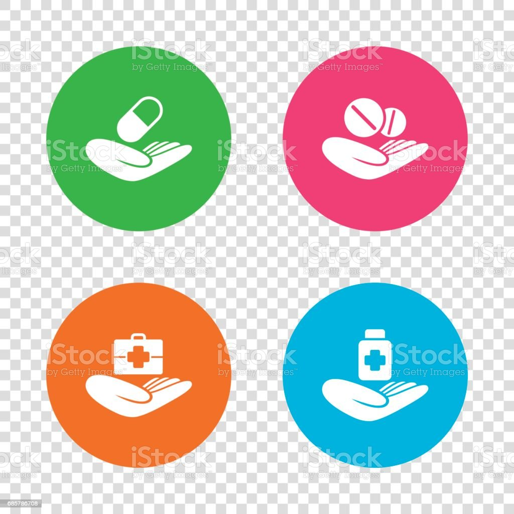 Helping hands icons. Medical health insurance. royalty-free helping hands icons medical health insurance stock vector art & more images of backgrounds