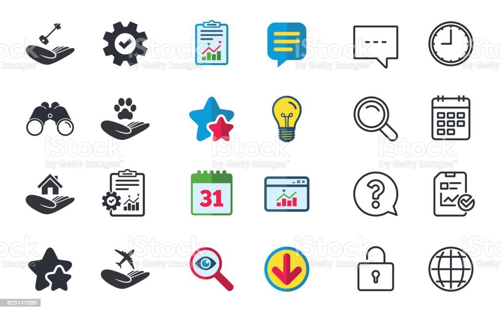 Helping hands icons. Protection and insurance. vector art illustration