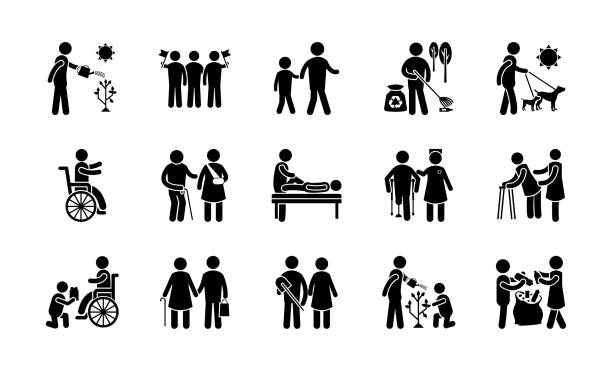 Helping Hands Icons A supportive pack helping hands icons is covering services like senior citizens help, patient assistance, child care, babysitters, pet care, providing food and so on. This one is the best option to grab and have an idea of how things work specially if you want to work as a volunteer. Also this is useful for designers, developers and related persons. alimony stock illustrations