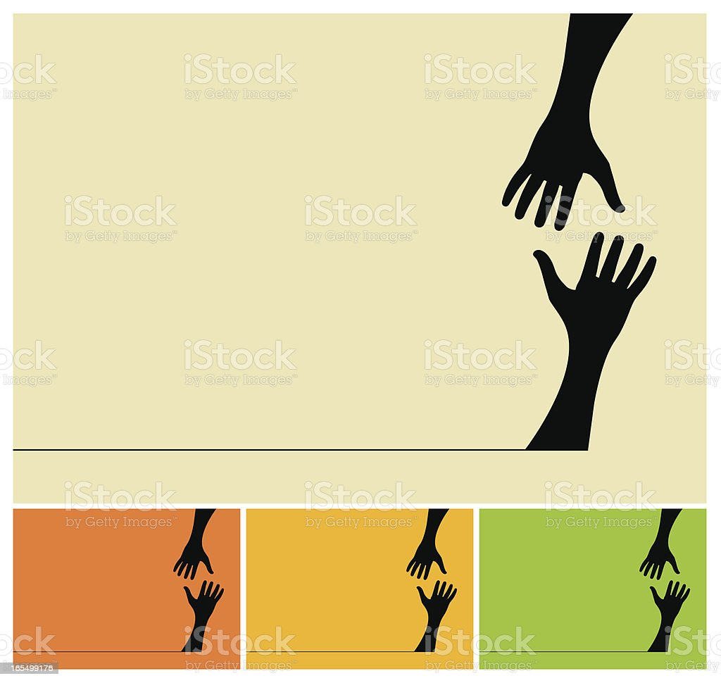 Helping hands vector art illustration