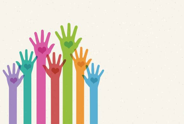 Helping Hands Helping hands community backgrounds stock illustrations