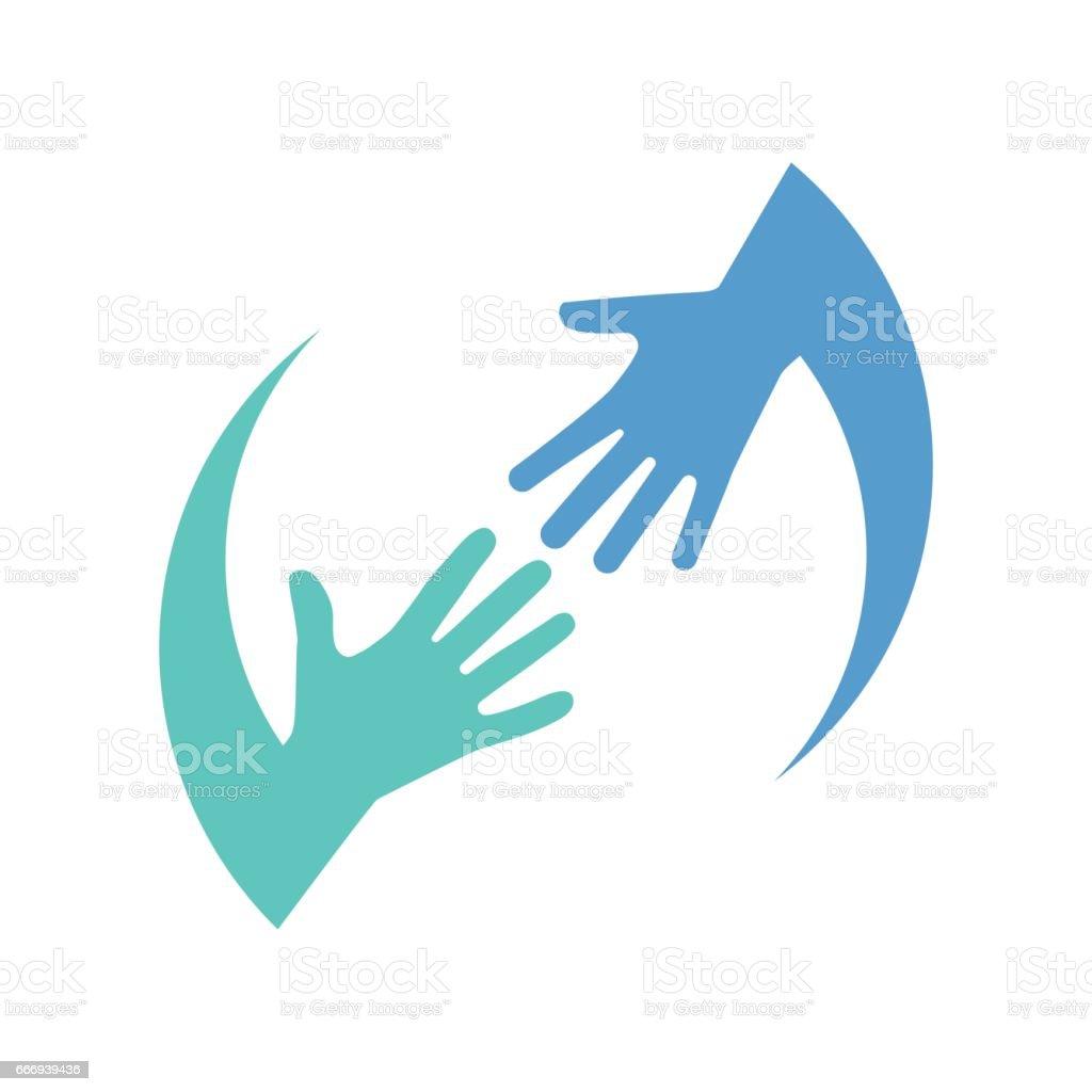 Helping logo hands vector art illustration