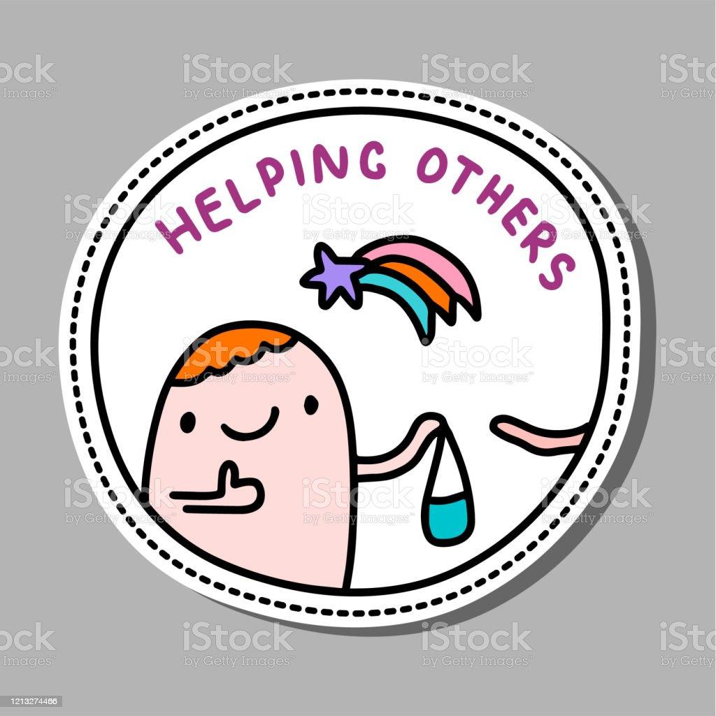 Helfen Andere Von Hand Gezeichnet Vektorillustration In