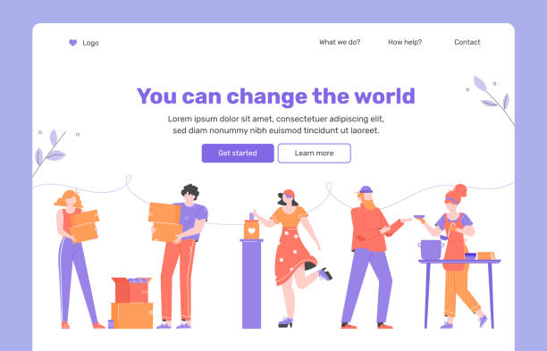Helping others, volunteering and charity. Landing page concept Helping others, gratuitous assistance, aid, volunteering and charity. Clothes and money donation, food bank for homeless. Landing page concept template. food bank stock illustrations