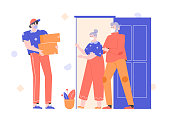 Helping the older generation during a pandemic and quarantine. Food and drug delivery to the door. A courier with boxes, grandparents in protective masks are waiting for goods. Vector illustration.