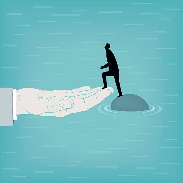 Helping-Hand Man on island rescued by a helping hand.. bailout stock illustrations