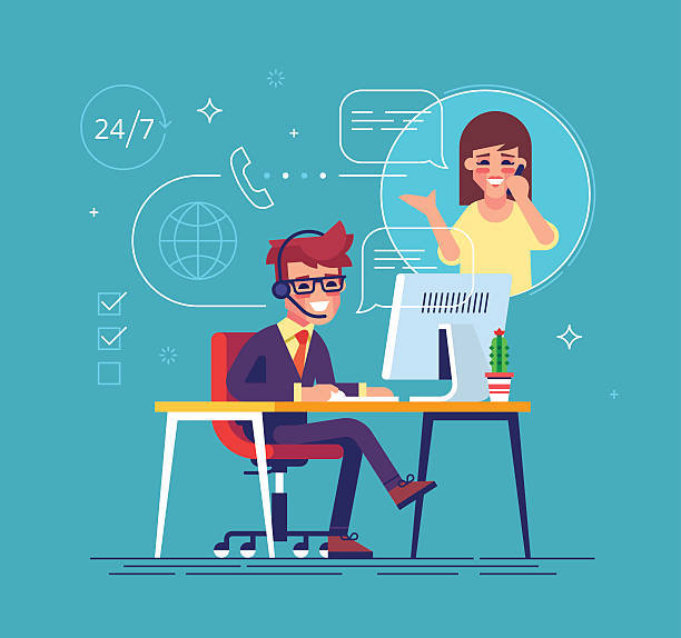 ilustrações, clipart, desenhos animados e ícones de helpline operator consulting client. tech support. - dia do cliente