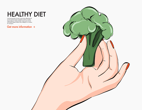 Helthy food nutrition art, broccoli in hand keto diet drawing. Fresh vegetable food dietolog recommendation, nutritionist  organic food. Vector illustration