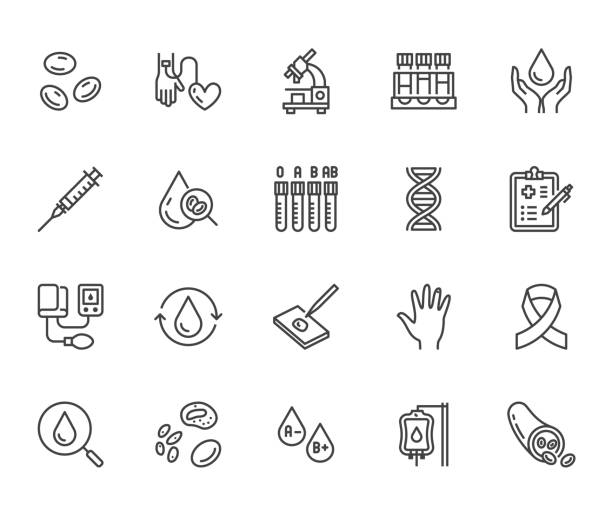 Hematology flat line icons set. Blood cell, vessel, sphygmomanometer, dna test, biochemical microscope vector illustrations. Outline signs for donor day. Pixel perfect 64x64. Editable Strokes Hematology flat line icons set. Blood cell, vessel, sphygmomanometer, dna test, biochemical microscope vector illustrations. Outline signs for donor day. Pixel perfect 64x64. Editable Strokes. living organism part stock illustrations
