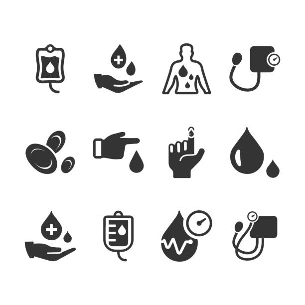 Hematology Icons - Gray Version Hematology Icons - Gray Version red blood cell stock illustrations