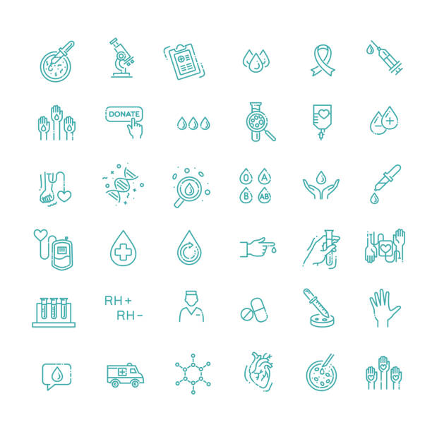 Hematology Vector icon. Outline signs for donor day Hematology flat line icons set. Clinical laboratory thin line icons hemoglobin stock illustrations