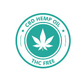 Hemp derived CBD oil stamp, THC free icon, marijuana oil label